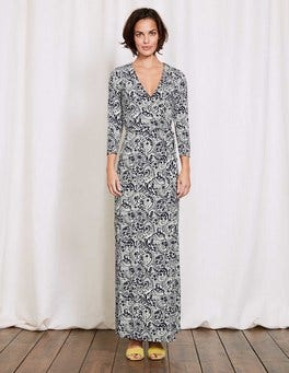 Navy Mono Paisley Wrap Maxi Dress