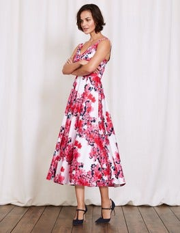 Pink Fizz Botanical Bird Romilly Dress