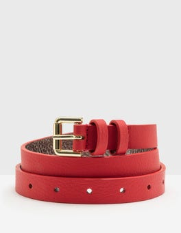 Post Box Red Skinny Belt