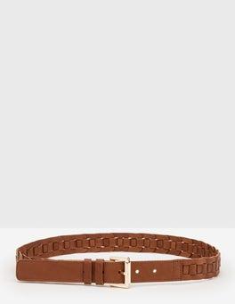 Tan Eleana Woven Belt