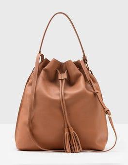 Tan Maxi Tassel Pouch Bag