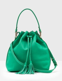 Meadow Green Midi Tassel Pouch Bag