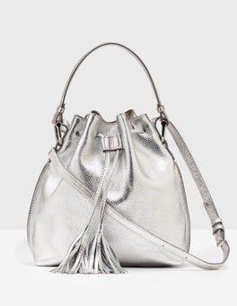 Silver Metallic Midi Tassel Pouch Bag