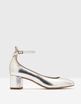 Silver Metallic Catherine Mid Heel