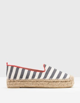 Navy and Ivory Stripe Eva Espadrille