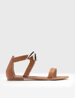 Tan Scallop Sandals