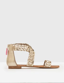 Pale Gold Cow Foil Leather Eleana Woven Sandal