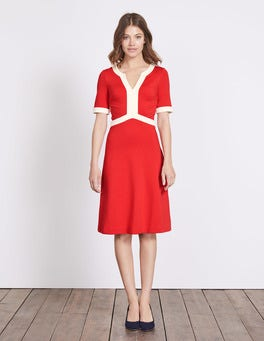 Post Box Red/Ivory Constance Ponte Dress