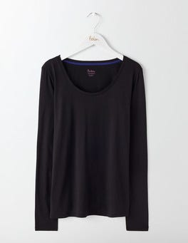 Black Supersoft Scoop Neck Tee