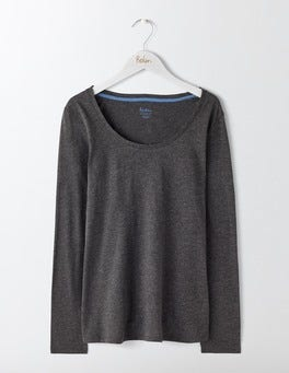 Charcoal Marl Supersoft Scoop Neck Tee