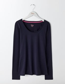 Navy Supersoft Scoop Neck Tee