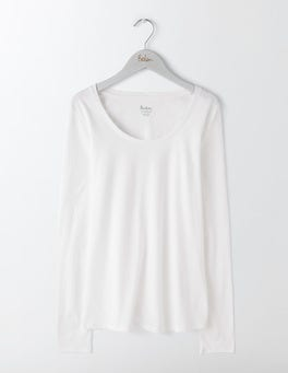 White Supersoft Scoop Neck Top