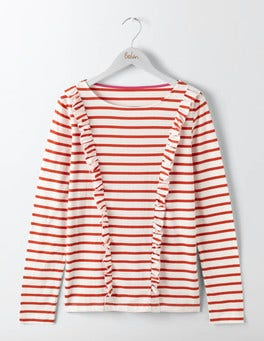 Ivory/Post Box Red Celeste Frilled Breton