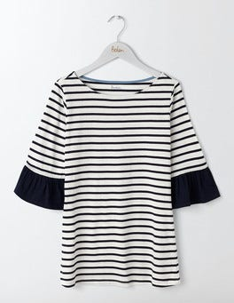 Ivory/ Navy Woven Mix Flare Cuff T-Shirt