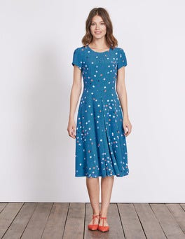 Solstice Blue Confetti Spot Calissa Dress