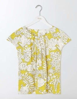 Mimosa Yellow Fresco Floral Ravello Top