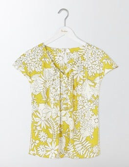 Mimosa Yellow Fresco Floral V-neck Ravello