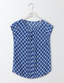 Santorini Blue Geo Pleat Front Top