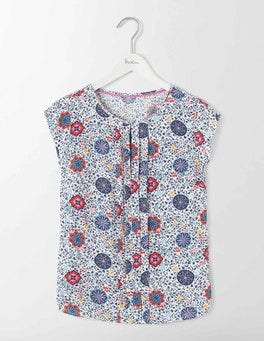 Multi Mosaic Floral Vine Pleat Front Top