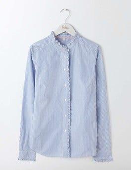 Blue and Ivory Stripe Virginie Ruffle Shirt