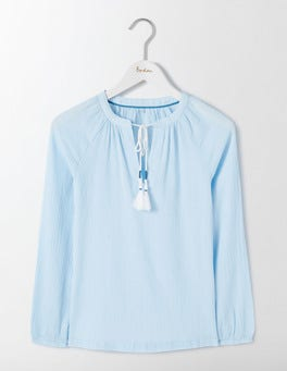 Chambray Gauzy Boho Top