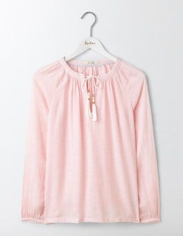 Pink Stripe Gauzy Boho Top