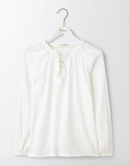 White Gauzy Boho Top
