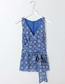 Santorini Blue/Ivory Collage Riviera Top