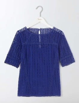 Imperial Blue Althea Lace Top