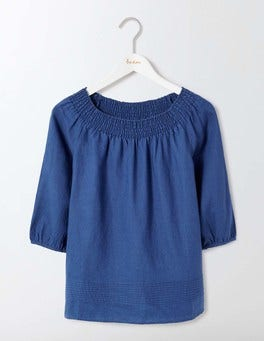 Imperial Blue Henrietta Linen Top