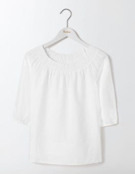White Henrietta Linen Top
