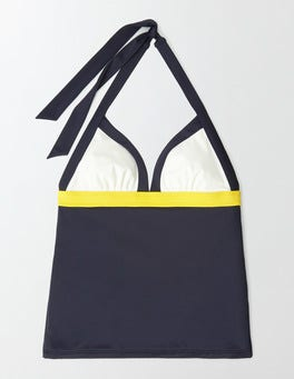 Navy Colourblock Ischia Halter Tankini Top