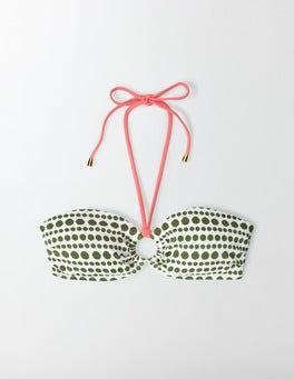 Ivory/Kale Pompom Spot Lido Bikini Top