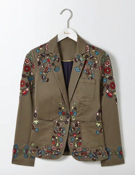 Khaki Florence Embroidered Blazer