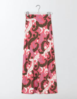 Coral Reef Acanthus Leaf Jersey Maxi Skirt