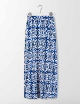 Imperial Blue Woodblock Jersey Maxi Skirt