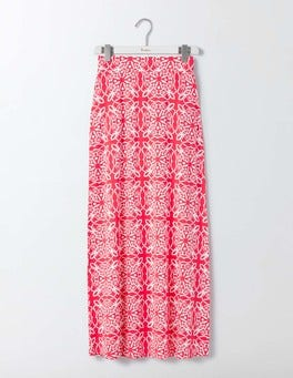 Strawberry Sundae Woodblock Jersey Maxi Skirt