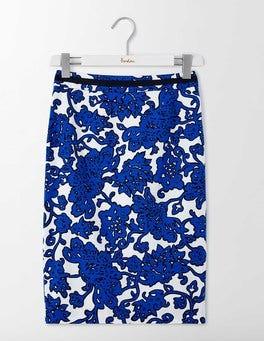 Blues Island Vine Modern Pencil Skirt