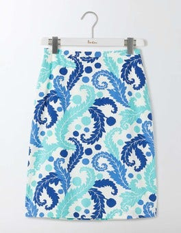 Blue Acanthus Leaf Printed Cotton A-Line Skirt