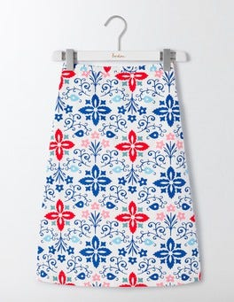 Ivory Collage Print Printed Cotton A-Line Skirt