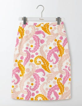 Pink Acanthus Leaf Printed Cotton A-Line Skirt