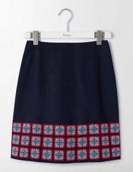 Navy Multi Tile Embroidery Katrina Skirt