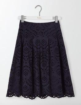 Navy Isadora Broderie Skirt