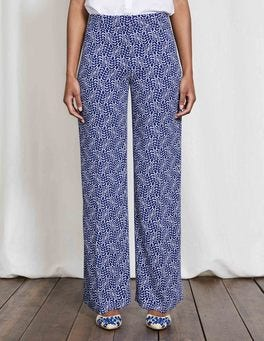 Imperial Blue, Vine Print Camille Wide Leg Trousers