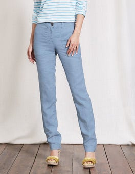White Wash Blue Coralie Linen Trousers