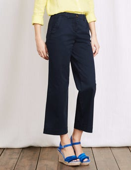 Navy Rachel Wide Crop Chino Trouser