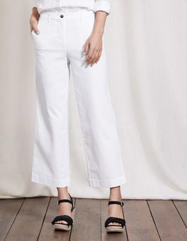 White Rachel Wide Crop Chino Trouser