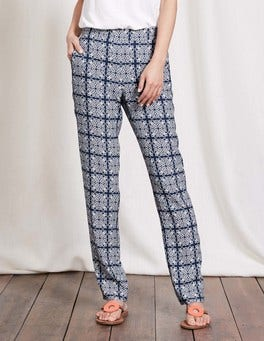Imperial Blue Woodblock Print Dora Holiday Trousers