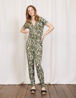Kale Swirl Print Jersey Jumpsuit