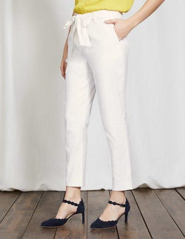 White Natalia Tie Trousers